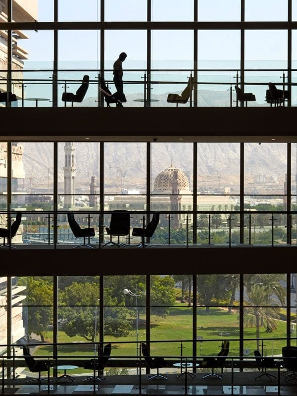 LOM architecture and design National Bank of Oman HQ view from atrium towards Grand Mosque