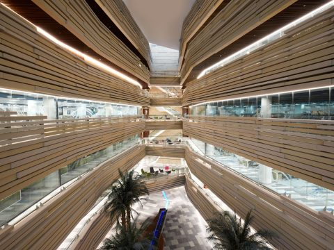 LOM architecture and design National Bank of Oman HQ view from bridges into wadi style atrium