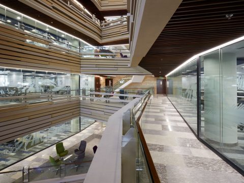 LOM architecture and design National Bank of Oman HQ view into atrium from perimeter gallery
